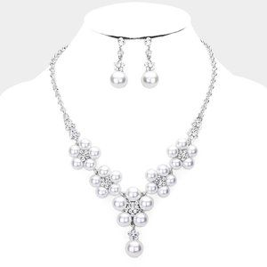Rhodium Pearl Floral Rhinestone Drop Necklace